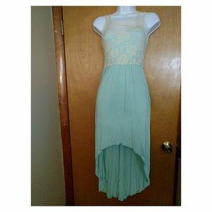 Rue21 XS high-low maxi dress - mint green/cream